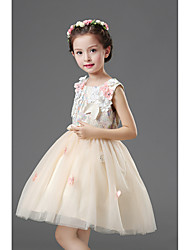 A-line Knee-length Flower Girl Dress - Satin Tulle Jewel with Appliques Bow(s) Embroidery Sash / Ribbon Sequins