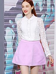I'HAPPY Women's Jacquard White / Purple SkirtsSimple Above Knee