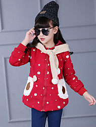 Girl's Casual/Daily Print / Patchwork Down & Cotton Padded,Rayon Winter Pink / Red