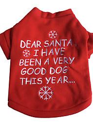 Perro Camiseta Ropa para Perro Navidad Año Nuevo Letra y Número Rojo Blanco/Rojo