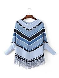 Damen Standard Pullover-Lässig/Alltäglich Einfach Geometrisch Blau Grau V-Ausschnitt Langarm Polyester Herbst Winter Mittel