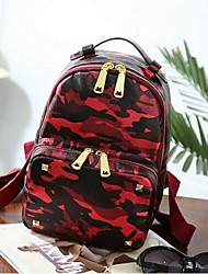 Women Nylon Casual Backpack Purple / Red