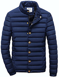 Men's Regular Padded Coat,Simple / Active Plus Size / Casual/Daily / Formal Solid-Acrylic / Polyester Polyester Long Sleeve StandBlue /