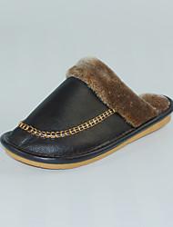 Masculino-Chinelos e flip-flops-Chanel-Rasteiro-Marrom-Pele-Casual
