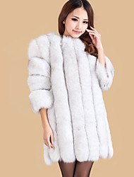Women's Casual/Daily Simple Fur Coat,Solid Long Sleeve Winter Red / White Faux Fur