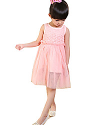 Girl's Casual/Daily Solid Dress,Chiffon Summer Sleeveless