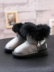 Girl's Boots Comfort Leather Casual Black Silver