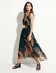 Women's Beach Boho A Line / Chiffon Dress,Print Round Neck Maxi Sleeveless Navy Blue / Red / Green  Summer