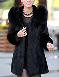 Women's Casual/Daily Simple Fur Coat,Solid Long Sleeve Black Rabbit Fur