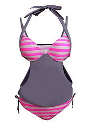 Women's 2pcs Solid Grey Splice Striped Halter Tankini Swimsuit