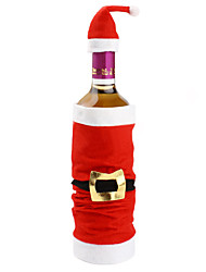 Popular High-end Plush Santa Clause Cap Red Wine Bag Bottle Set Covers Christmas Indoor Christmas Decorations
