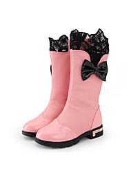 Mädchen-Stiefel-Kleid Lässig-PU-Flacher Absatz-Komfort Modische Stiefel-Schwarz Rosa Rot Burgund