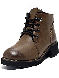 Women's Boots Winter Comfort PU Casual Low Heel Chain Lace-up Black Brown
