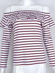 Damen Gestreift Sexy / Einfach / Niedlich Ausgehen / Lässig/Alltäglich T-shirt,Bateau Frühling / Herbst Langarm Rot Baumwolle Mittel
