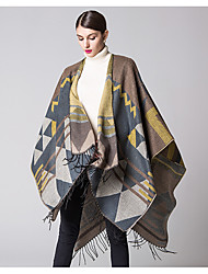 Women Acrylic ScarfVintage RectangleBlack / Blue / Yellow / Gray / OrangePatchwork