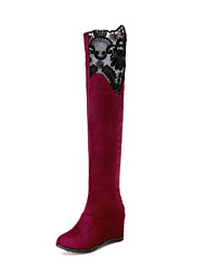 Women's Boots Fall Winter Others Velvet Dress Casual Wedge Heel Split Joint Black Red Others
