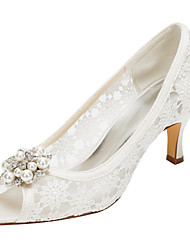 Women's Heels Spring / Summer Others Stretch Satin Wedding / Party & Evening Stiletto Heel Crystal / Pearl Ivory Others