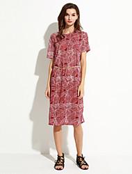 Robe Aux femmes Courte Street Chic,Imprimé Col Arrondi Mi-long Polyester