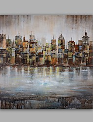 Hand-Painted Abstract / Building /Modern One Panel Canvas Oil Painting For Home Decoration