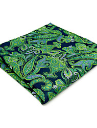 Mens Pocket Square Hanky Handkerchief For Men Green Paisley Jacquard Woven
