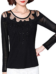 Fall Women Top Round Neck Long Sleeve Solid Color simpel Lace T-shirt Ladies Formal Work Blouse