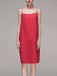 Chocolatone Women's Beach Simple Tunic DressSolid Strap Knee-length Sleeveless Red Linen / Rayon Summer