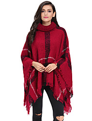 Women's Turtleneck Tassel Cape Sweater