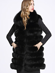 BF-Fur Style  Women's Casual/Daily Sophisticated Fur CoatSolid Shirt Collar Long Sleeve Winter White / Black / Gray Fox Fur