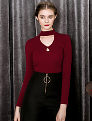 MASKED QUEEN Women's Going out Sexy / Vintage Spring / Fall T-shirtSolid Halter Long Sleeve Red / Black