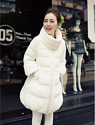 Women's Long Down Coat,Simple Casual/Daily Solid-Polyester White Duck Down Long Sleeve White