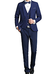 Men's Casual/Daily Work Simple Fall Winter Suit,Solid V Neck Regular Cotton Acrylic