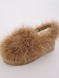 Women's Flats Comfort PU Fur Fall Winter Casual Walking Comfort Flat Heel Black Gray Brown Flat