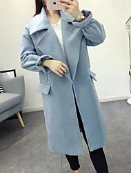 Женский На каждый день Однотонный Пальто Лацкан с тупым углом,Простое Зима Синий Длинный рукав,Полиэстер,Тонкая