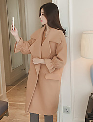 Women's Casual/Daily Simple Coat,Solid Long Sleeve Brown Others