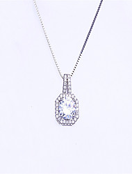 Women's Necklace  Cubic Zirconia Pendant Necklaces Jewelry Wedding / Party Sexy / Fashion Sterling Silver