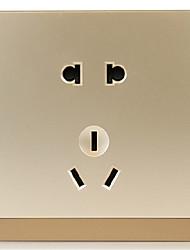 interrupteurs et prises philips panneaux muraux Feiyi 5 5 trous puissance 10a 86-type à trois socket or champagne deux