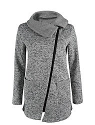 Women's Casual/Daily Simple Jackets,Solid Shirt Collar Long Sleeve Fall / Winter Gray Cotton Medium