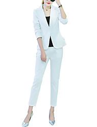 costumes Femme,Couleur Pleine Décontracté / Quotidien simple Toutes les Saisons Manches Longues Revers Cranté Blanc / Noir Polyester Moyen