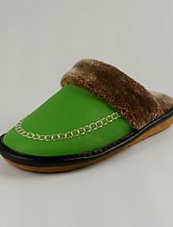 M.livelihood.H Women's Slippers & Flip-Flops Winter Slingback Cowhide Casual Flat Heel Others Green Others-YQ201606