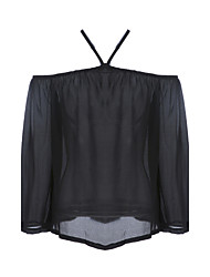Simple All Seasons Blouse,Solid Halter Long Sleeve Blue / Red / Black Others Thin