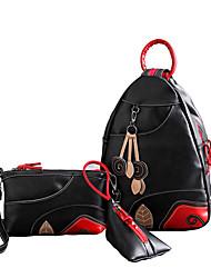 Damen Bag Sets PU Ganzjährig Alltag Im Freien Büro & Karriere Einkauf Bucket Bag Reißverschluss Schwarz/Rot