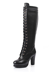 Damen-Stiefel-Lässig-Leder-Blockabsatz-Modische Stiefel-Schwarz / Braun