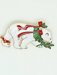 Christmas Women White Polar Bear Brooches
