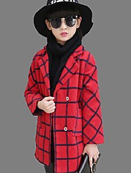 Girl's Casual/Daily Striped Trench CoatPolyester Winter Blue / Red