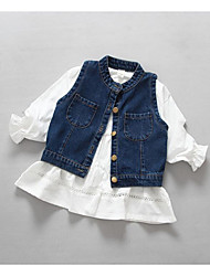 Girl's Casual/Daily Solid Overall & Jumpsuit / Vest / Clothing SetCotton Spring / Fall White