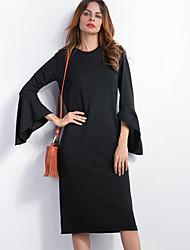 Gaine Robe Femme Décontracté / Quotidien Sexy / simple,Couleur Pleine Col Arrondi Mi-long Manches Longues Noir PolyesterPrintemps /