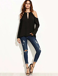 Women's Going out Street chic Fall Shirt,Solid Strap Long Sleeve Black Cotton / Polyester Medium