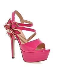 Women's Sandals Summer Platform Ankle Strap PU Wedding Dress Party & Evening Stiletto Heel Platform Beading BuckleBlack Pink White Silver