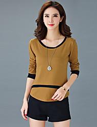 Damen Solide / Einfarbig Einfach Lässig/Alltäglich / Übergröße T-shirt,Rundhalsausschnitt Herbst Langarm Grau / Orange / Gelb Baumwolle