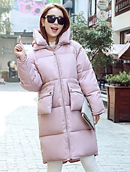 Women's Long Padded Coat,Simple Casual/Daily Solid-Cotton Cotton Long Sleeve Pink / Black / Gray